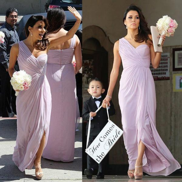 Trendy One Shoulder Chiffon Bridesmaid Dress with Ruching Detail, Sexy Long Bridesmaid Dress with Split Front, Light Purple Bridesmaid Gown, #01012769