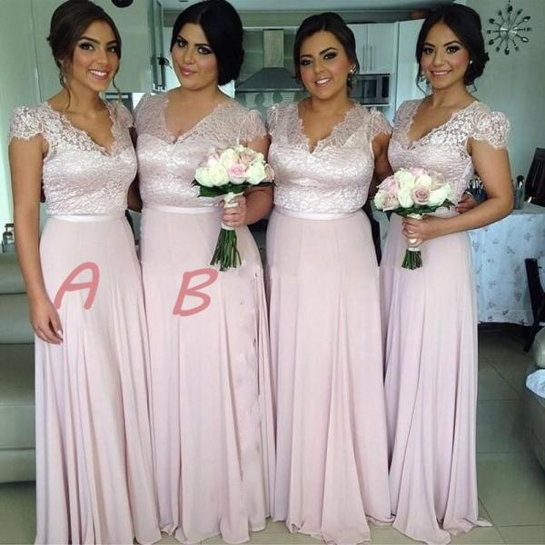 Cap Sleeves Lace Bridesmaid Dresses, V-neck Bridesmaid Dress in Light Pink, Graceful Chiffon Floor-length Bridesmaid Dress, #01012774