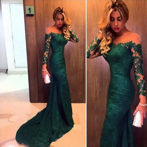 Emerald Green Lace Prom Dress, Long Sleeve Mermaid Prom Dress, Off-the-shoulder Tulle Prom Dresses, #020102176