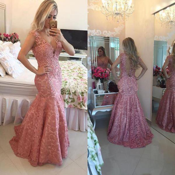 Gorgeous Pink Lace Prom Dresses, V-neck Mermaid Prom Dress, Mermaid Evening Dress with Beaded Lace Appliques, #020102205