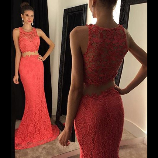Two Piece Lace Prom Dress, Trendy Crop Top Prom Dress with Lace Appliques, Mermaid High Neck Prom Gowns, #020102334