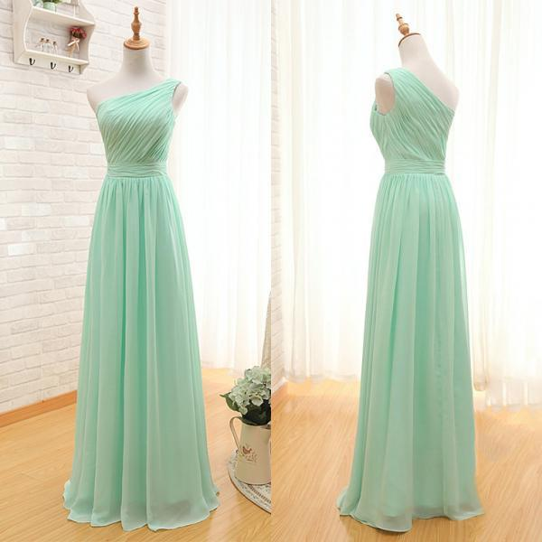 One Shoulder Bridesmaid Dresses Online, A-line Bridesmaid Dress with Ruching Detail, Mint Green Long Bridesmaid Gowns, #01012405