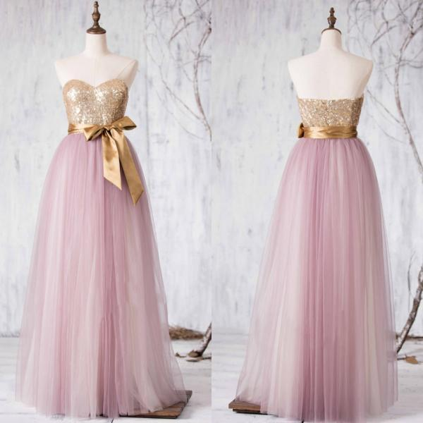 Sequined Bridesmaid Dress, Sweetheart Tulle Bridesmaid Gowns, Two-toned Princess Bridesmaid Dress with a self-tied Sash, #01012727