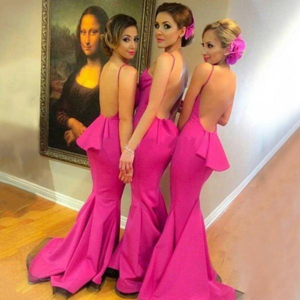 Sexy Backless Bridesmaid Dress with Ruffles, Hot Pink Mermaid Bridesmaid Dress with Sweep Train, Halter Bridesmaid Dresses, #01012785