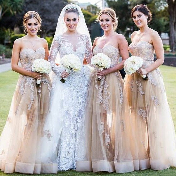 Champagne Sweetheart Bridesmaid Dress with Lace Appliques, Elegant Tulle Bridesmaid Dresses, Floor-length Puffy Gowns for Bridesmaid, #01012787
