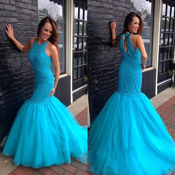 Beaded Mermaid Prom Dress with Keyhole Back, Fashion Blue Prom Dress, Sleeveless Scoop Neck Prom Dress, #020102073