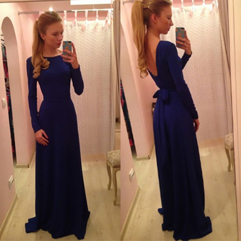Long Sleeve Backless Prom Dresses with Self-tile Ribbon, Navy Blue Evening Dresses with Low Back, Boat Neck Prom Dresses, #02018955