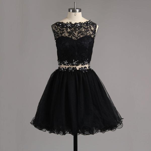 Bateau Neck Black Beaded Homecoming Dress, Illusion Two Piece Tulle Homecoming Dress, Sexy See-through Lace Short Homecoming Dress, #020101138