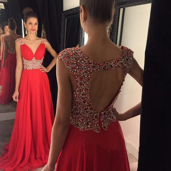 Sexy Deep V Neck Red Prom Dress, Key Hole Back Floor Length Prom Dress with Sweep Train, Sleeveless Crystal Beaded Chiffon Prom Dress, #020102404