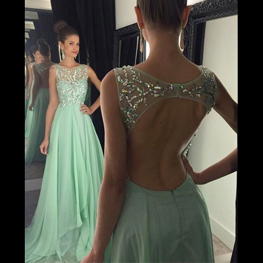 Bateau Neck Beaded Tulle Sleeveless Prom Dress, Elegant Illusion A-line Chiffon Long Prom Dress, Sexy Open Back Light Green Prom Dress, #020102439