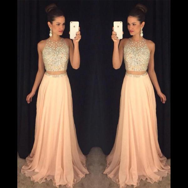 Jewel Neck Illusion Two Piece Prom Dress, Crystal Beaded Floor Length Sweep Train Prom Dress, Stunning Pink Crop Top Chiffon Prom Dress, #020102442