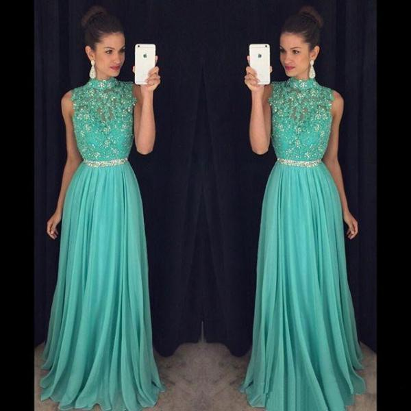 High Neck Open Back Long Prom Dress, Light Blue Princess Lace Appliques Beaded Tulle Prom Dress, Chiffon Prom Dress with Beaded Belt, #020102443