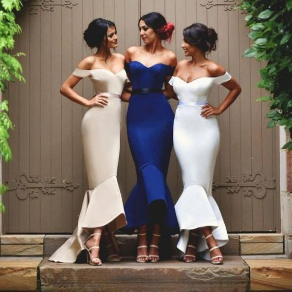 Off-the-Shoulder Mermaid Long Bridesmaid Dress, Ankle Length Low Back Bridesmaid Dress, White Sash Satin Bridesmaid Dress, #01012902