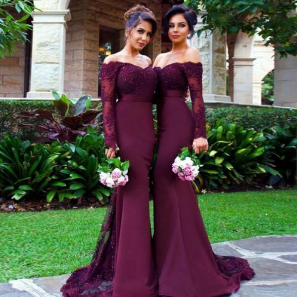 Off-the-Shoulder Long Sleeves Bridesmaid Dress, Low Back Burgundy Tulle Bridesmaid Dress, Long Satin Trumpet Bridesmaid Dress, #01012904