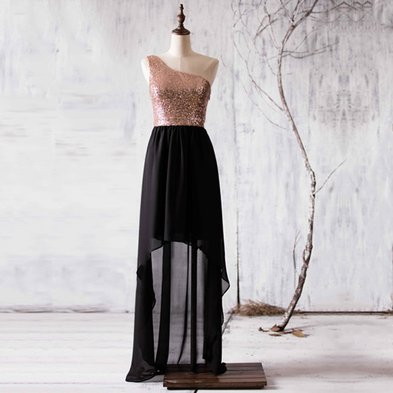 Black Bridesmaid Dress with Gold Sequin One Shoulder Bodice and High Low Chiffon Skirt