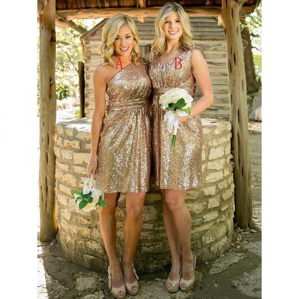 Golden Sequined One Shoulder Bridesmaid Dress, Ladies V-neck Knee-length Bridesmaid Dress, Shining Short Bridesmaid Dress, #01012939