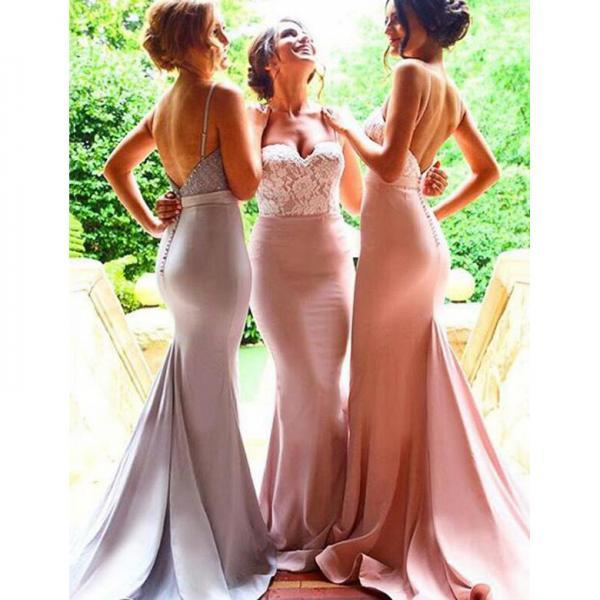 Pink Sweetheart Mermaid Bridesmaid Dress with lace Appliques, Sexy Backless Bridesmaid Gowns, Long Silk-like Satin Bridesmaid Dress, #01012946