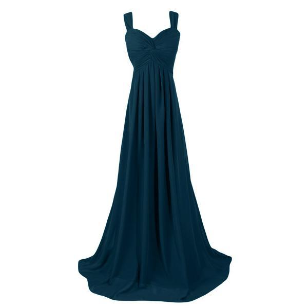 Elegant Dark Forest Long Bridesmaid Dresses, Modest Sweetheart Cheap Bridesmaid Gowns, Simple Empire Chiffon Bridesmaid Dresses, #01012945