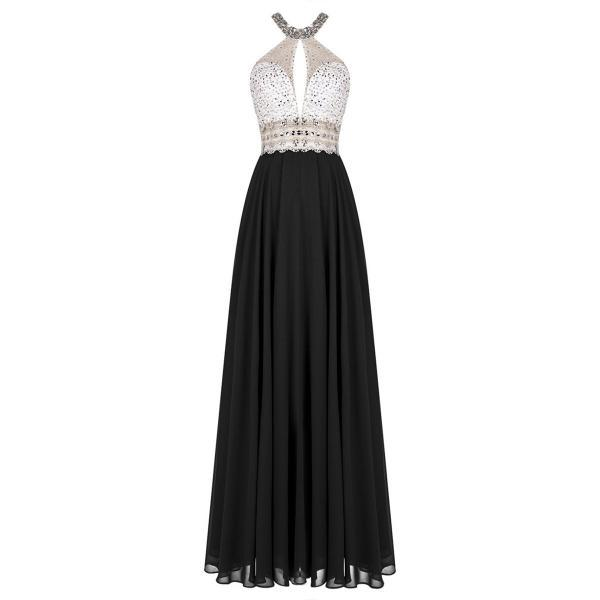 Black Long Chiffon A-Line Pleated Prom Dress Featuring Crystal and Beaded Embellished High Neck Halter Bodice with Cutout and Open Back Detailing