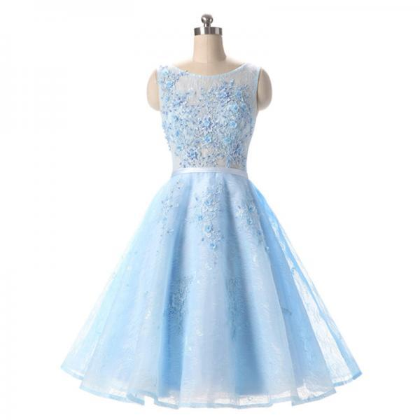 Bateau Neck Pearl Lace Appliques Short Prom Dress, Ice Blue A-line Sash Mini Prom Dress, Sweet See-through Lace Prom Dress, #020102715