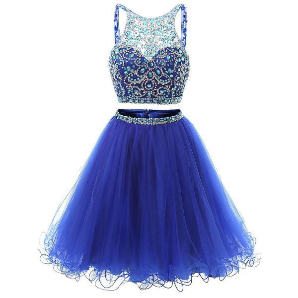 Royal Blue Crystals and Sequins Embellished Short Two-Piece Homecoming Dress Featuring Halter Illusion Cropped Bodice, Open Back and Tulle Skirt