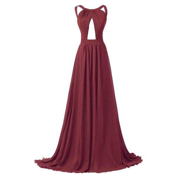 Burgundy Chiffon Floor Length A-Line Evening Dress Featuring Halter Neck Bodice with Cutout Detailing and Criss Cross Back