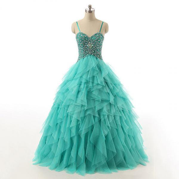 Spaghetti Straps Lace-up Beaded Long Prom Dress, Crystal Turquoise Ball Gown Prom Dress, Cascading Ruffles Tulle Prom Dress, #020102741